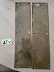 Pair of Reclaimed Brass Finger Plates Vintage 304x76x1mm 6-hole