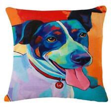 JACK RUSSELL W DOG LINEN-COTTON Pop Art CUSHION COVER Bright Colour Puppy UKsale