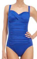 Miraclesuit ELECTRIC BLUE Trimshaper Averi Shirred One Piece Swimsuit, US 10