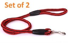 2 X Pet Dog Puppy Red & Black Walking Training Braided Nylon Leash Rope & Clip