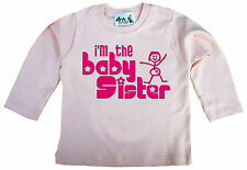 """Dirty Fingers Baby Long Sleeve Top Tee T-Shirt """"I'm the Baby Sister"""""""