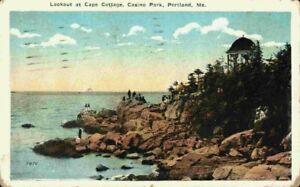 People On Lookout Point Cape Cottage Casino Park Portland Maine ME Postcard