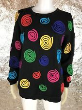 Women's Vintage 1980's Black & Colorful Swirls Knit Sweater, Size M, Pre-Owned