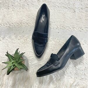 Shellys London Lichfield black leather calf hair pointed loafer block heel 8.5