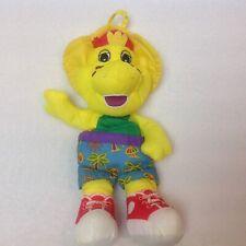 "Vintage BARNEY Plush BJ 11"" 1996 Playskool Hasbro Waterproof Nylon Yellow Dino"