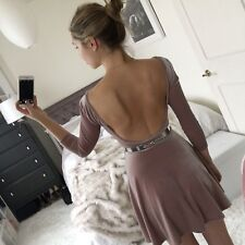 AMERICAN APPAREL NUDE BEIGE STARLIGHT VELVET DRESS OPEN BACK SMALL