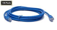 BattleBorn LOT 10 Pack 1 Foot Ft Copper Cat6A Network Patch Cable Blue