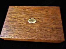 VINTAGE WOODEN BOX WITH BRASS CARTOUCHE FLOATS RICH HONEY TONES & GRAIN