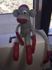 """Sock Monkey Stuffed Animal 19"""" length"""