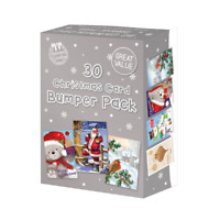 30 Rectangle Assorted Bumper Box New Variety Pack Great Value Christmas Cards