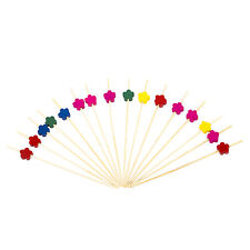 Multicolour Flower Cocktail Sticks X 100. Cute Retro Party Style.