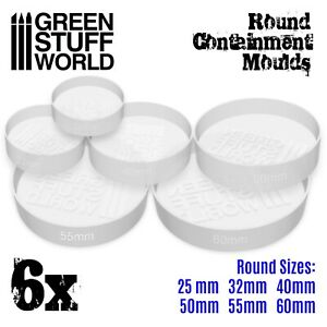 6x Translucent ROUND Containment Moulds for Bases Warhammer AOS wargames 40k