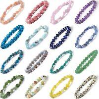Crystal Gemstone Bead Bracelet Chakra Natural Stone Jewellery Gift Bangle New UK