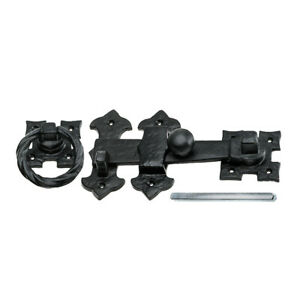 Black Antique Ring Gate Latch with Fixings - 180mm 254mm