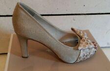 93a53103 Ladies Tamaris Size 39 Silver Textile Peep Toe Platform Shoes with bow.