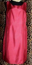 COLDWATER CREEK Red Silky Sheath Dress Sz 14 Back Slit Sleeveless Classic Chic