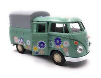 Modellauto T1 Pritsche Bus Bulli Blumen Grün  Auto Maßstab 1:34-39 (lizensiert)