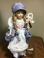 "Little Bo Peep 18"" Porcelain Doll/Stand/COA/Poster/Ads By Danbury Mint"