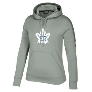 Toronto Maple Leafs NHL Adidas Women's Grey Team Issue Climawarm Pullover Hoodie