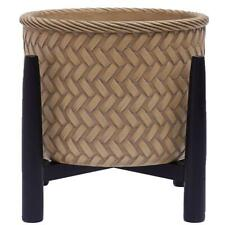 Better Homes & Gardens Painted Round Ceramic and Wood Planter & Stand Set