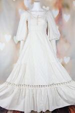 VTG 70s BOHO Ivory *GUNNE SAX* Prairie QUILTED Corset Wedding MAXI DRESS XS-S