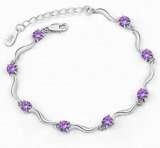 Women Fashion purple Silver Bamboo Crystal Rhinestone Cuff Bangle Bracelet New