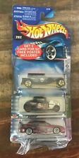 Hot Wheels - 3 Pack of Cars w/ Poster (Designs on car) ~ NEW ON CARD