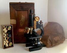 ANTIQUE BAUSCH & LOMB/ SPENCER MICROSCOPE W/ ORIGINAL WOODEN BOX & EXTRAS
