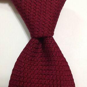 DRAKE'S Men's 100% Silk Necktie ENGLAND Luxury Textured SOLID Burgundy EUC Rare