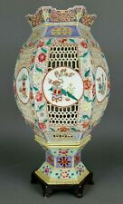 New listing Fine Antique Chinese Famille Rose Verte Porcelain Reticulated Candle Lantern #2