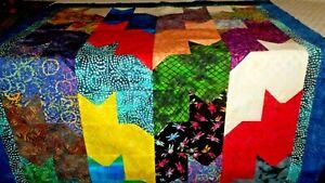 Batik Cat  Quilt top  Handmade unfinished  42 x 50   Cotton