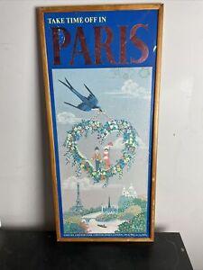 Vintage Travel Agent Advertising  Poster Framed  Time Off In Paris 74cmx33cm