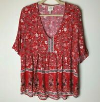 Knox Rose Women's Top Size Large Short Sleeves V-Neck Floral Paisley Casual Red