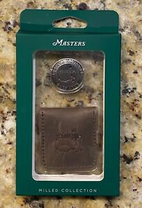 Masters Milled Collection Ball Marker & Leather Pouch Augusta National Golf Club