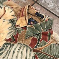 Vintage 90's Chaps Ralph Laurens Hawaiian Palm Leaves Floral Shirt Men's Size L