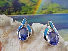 Elegant Sterling Silver post earrings Blue Opal inlay with oval Tanzanite center