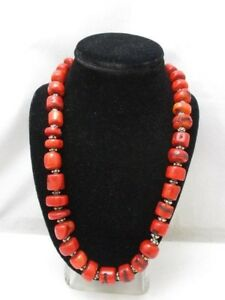 """Natural Red Mediteranean Coral With 925 Sterling Silver 22.5"""" Necklace Beautiful"""