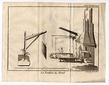 Métier artisan la fonderie de plomb et le laminoir  gravure an 1751/GLSN9