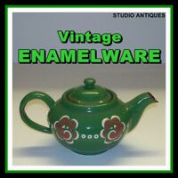 GREEN ENAMELWARE Vintage TEAPOT + LID Raised Decoration