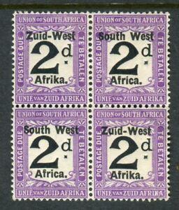 SOUTH WEST AFRICA-1923 2d Black & Violet POSTAGE DUES.  A block of 4  Sg D3