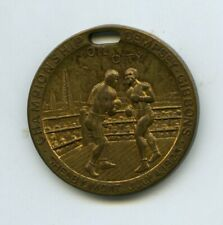 Original 1923 Jack Dempsey vs. Tommy Gibbons Boxing Souvenir Gold Medallion