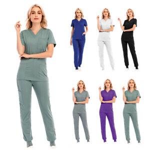 Women Medical Scrub Suit V-neck With Pocket Short Sleeve Set Nursing Uniforms