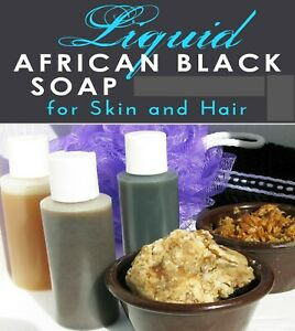 Liquid Raw African Black Soap Pure All Natural 100% Organic