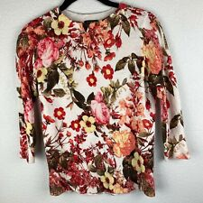 Talbots Petites Sz S Beige Floral 100% Merino Wool 3/4 Sleeve Crewneck Pullover