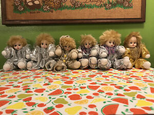 Lot Of Vintage Porcelain Clown Dolls Handmade Collectible Toy Jester Silver Gold
