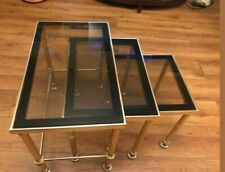Lovely MCM Vintage Hollywood Regency French Solid Heavy Brass Nest of Tables
