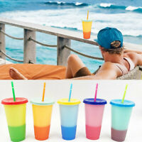 5X Reusable Water Bottles With Straws Color Changing Cold Cups Magic Tumblers #F