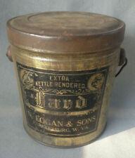 Vintage Adver. Lard Tin (Small Size) N Logan & Sons Parkersburg, W.Va.--Free Shi