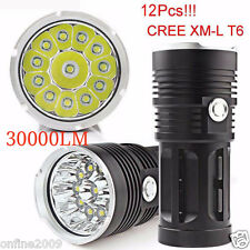 30000LM 12x CREE XM-L T6 LED Flashlight Torch 4x18650 Hunting Lamp Super Bright