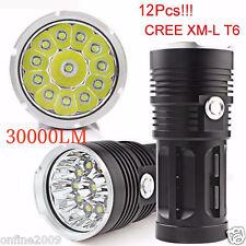 30000LM 12x CREE XM-L T6 LED Flashlight Torch 4x18650 Hunting Lamp Super Bright